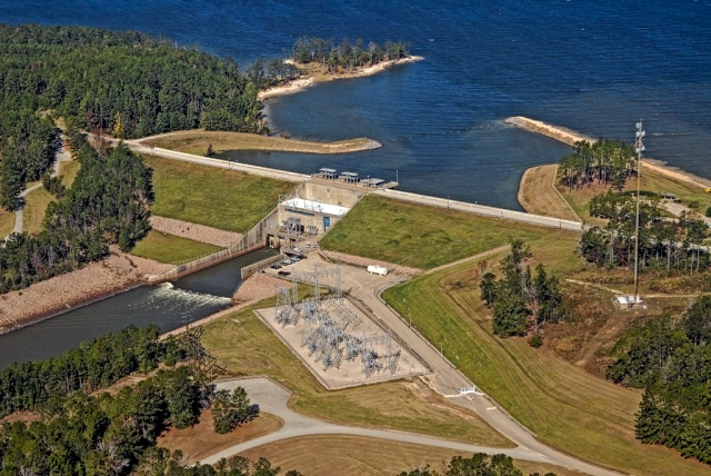 overhead view of the Lake Rayburn dam in East Texas