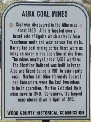 Historical marker about the Alba coal mines in East Texas