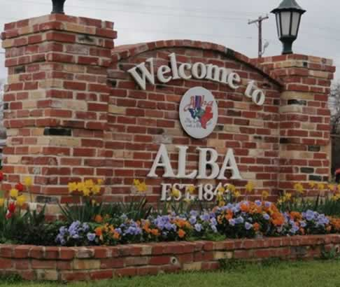 Welcome sign to Alba, Texas, established 1843
