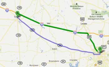 There are two main routes to reach First Monday Trade Days when traveling from Tyler to Canton