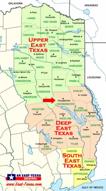 Map of Deep East Texas Showing Location of Nacogdoches