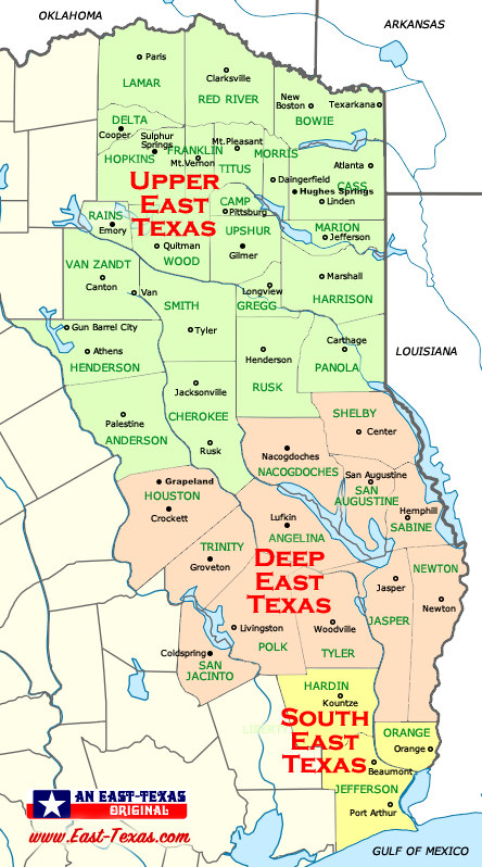 Map of East Texas Counties and Larger Cities