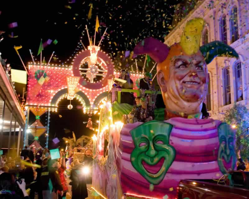 Mardi Gras parade and festivities in downtown Galveston, Texas