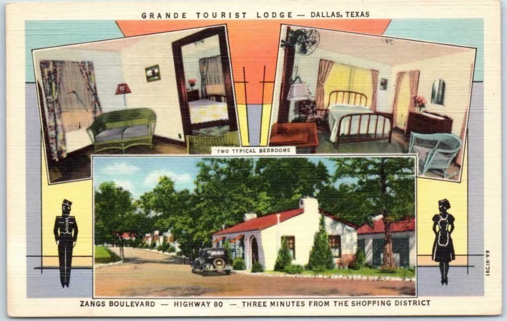 Vintage view of the Grande Tourist Lodge on U.S. Highway 80 in Dallas, Texas