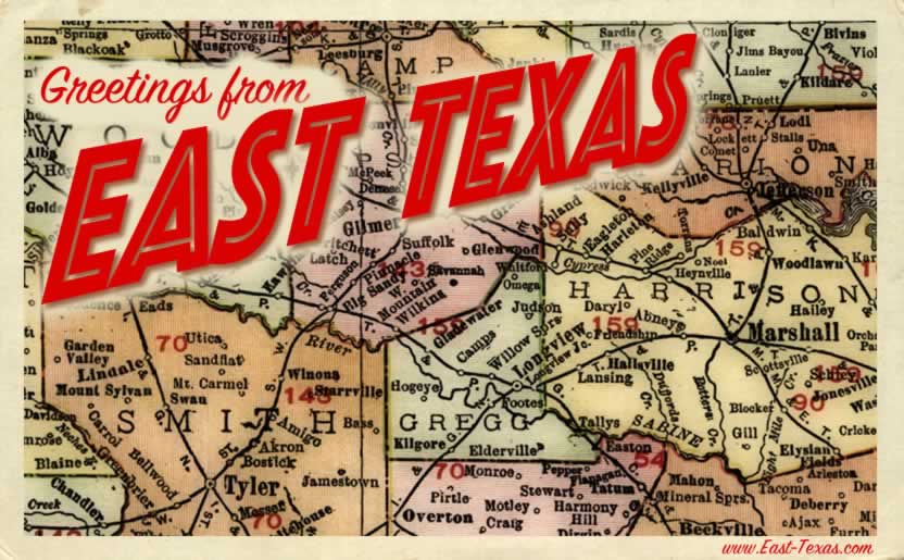 Greetings from East Texas ... vintage picture postcard