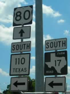 U.S. Highway 80 sign in Grand Saline, Texas