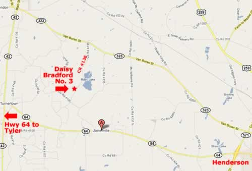 map of Daisy Bradford No. 3 area near Joinerville ... click for interactive map