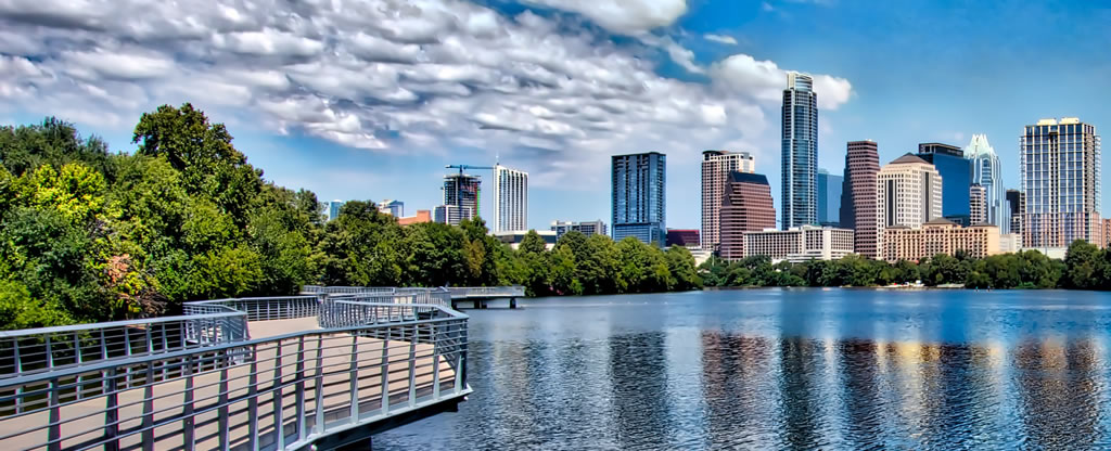 The Austin, Texas skyline, with the Town Lake Boardwalk