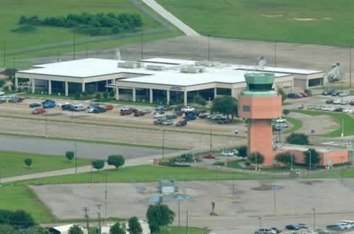 Aerial view of Jack Brooks Regional Airport  in southeast Texas
