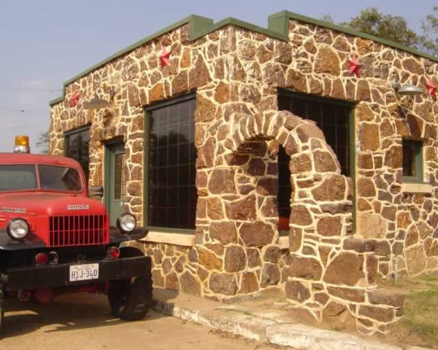 The old stone Texaco gas station in Jefferson Texas