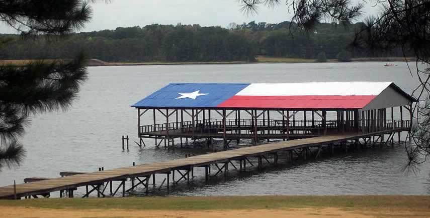 The marina and boat dock area at the Lake Striker Resort