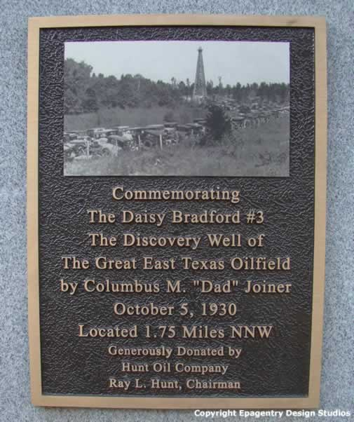 Marker at base of historic oil derrick, Gaston Museum, Joinerville Texas