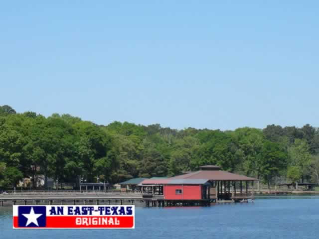 Boat docks on the Texas side of Toledo Bend Reservoir near the Pendleton Bridge