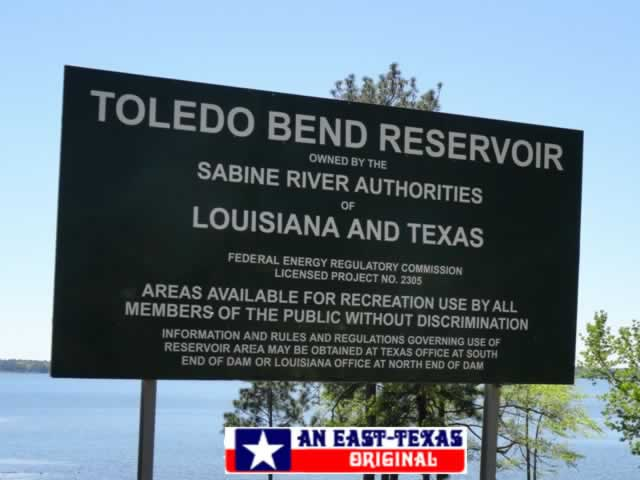 Toledo Bend Reservoir owned by the Sabine River Authorities of Louisiana and Texas