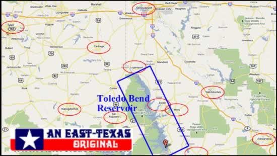 Toledo Bend location in East Texas