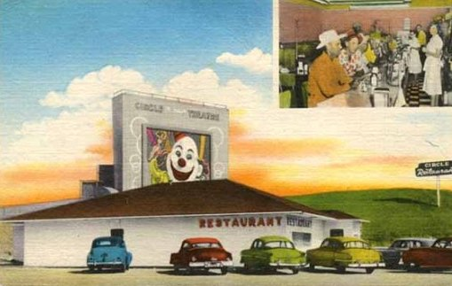 Historic postcard of the Circle Restaurant and Drive-In, Henderson, Texas