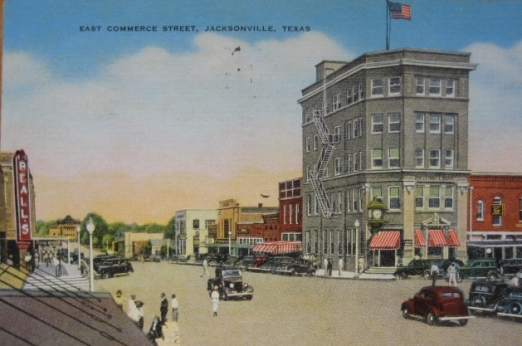 Historic postcard of East Commerce Street, Jacksonville, Texas