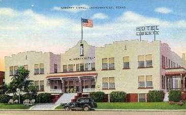 Vintage postcard of the Hotel Liberty, Jacksonville, Texas