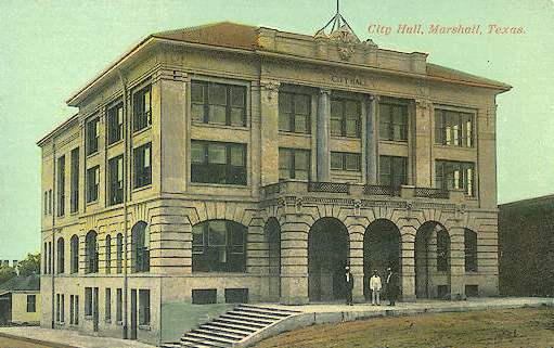 Historic postcard of City Hall, Marshall, Texas