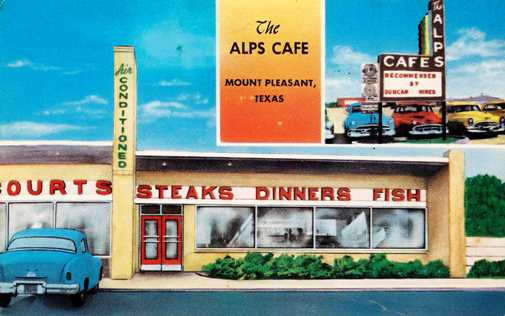 Historic postcard of the Alps Cafe, Mount Pleasant, Texas