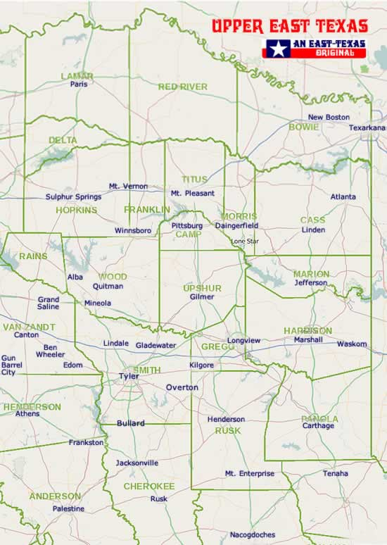 Map Showing Location of New Boston in East Texas