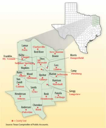 Map of the Upper East Texas Counties and county seats