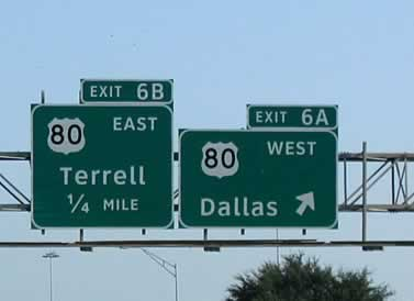 U.S. Highway 80 exits near I-635 in Dallas, Texas